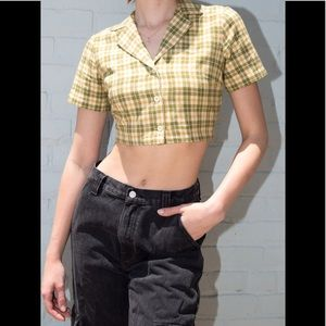 Brandy Melville yellow/green plaid Vivian top